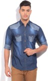 High Star Men's Solid Casual Blue Shirt