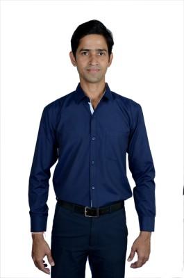 SWISSCOTT Men's Solid Formal Blue Shirt