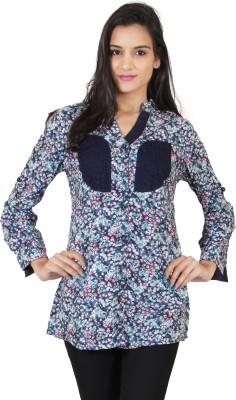 Hargur Women's Printed Casual Blue Shirt