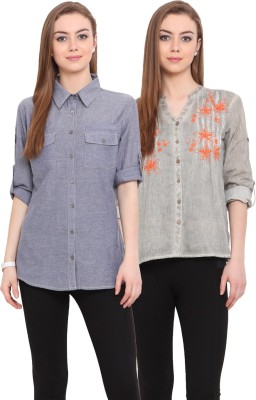 Porsorte Women's Solid Casual Green, Blue Shirt