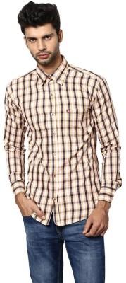 Saffire Men,s Checkered Formal, Casual Yellow Shirt