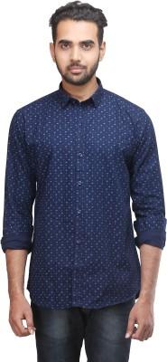 Mehta Men's Printed Casual Blue Shirt