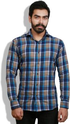 Goswhit Men's Checkered Casual Blue, Yellow Shirt