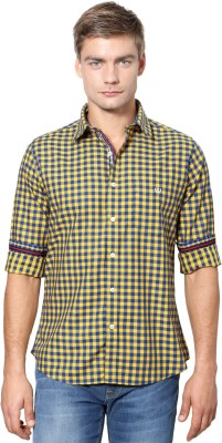 Van Heusen Men's Checkered Casual Yellow Shirt