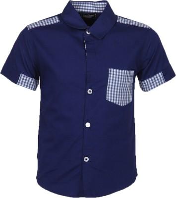 Cool Quotient Boy's Self Design Casual Blue Shirt