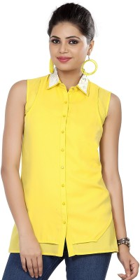 SOIE Women's Solid Casual Yellow Shirt
