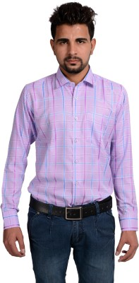 Riwas Collection Men,s Checkered Formal Purple, Blue Shirt