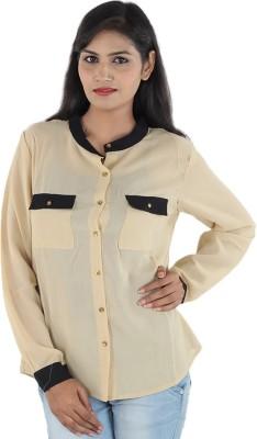 Aimeon Women's Solid Casual Black, Yellow Shirt
