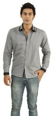 Frissk Men's Solid Casual Grey, Black Shirt