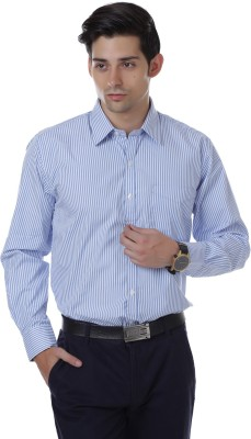 Cotton County Men's Striped Formal Blue Shirt