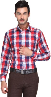 Ausy Men's Checkered Casual Red, Blue Shirt