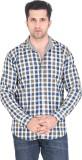 Meraki Men's Checkered Casual Green, Whi...