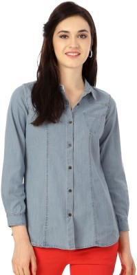People Women's Solid Casual Blue Shirt