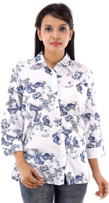 House of Tantrums Women's Printed Casual White Shirt