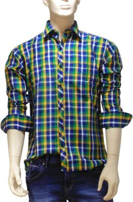 EXIN Fashion Men's Checkered Formal Green, Blue, Yellow Shirt