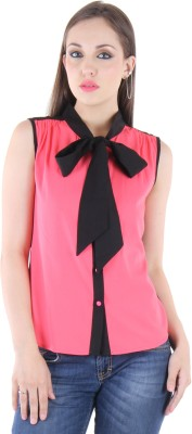 BONHEUR Women's Solid Casual Pink, Pink Shirt