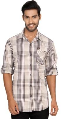 Macoro Men,s Checkered Casual Beige Shirt
