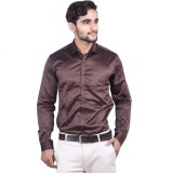 Cortos Men's Solid Formal Brown Shirt
