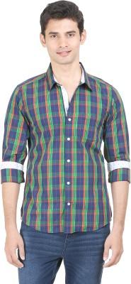 Flippd Men's Checkered Casual Green, Dark Blue Shirt