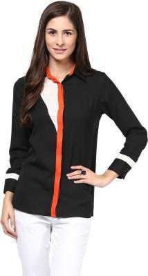Martini Women's Solid Casual Black, Orange Shirt
