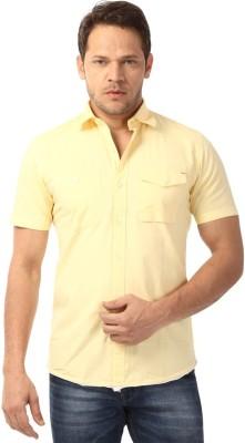 YOO Men's Solid Casual Yellow Shirt