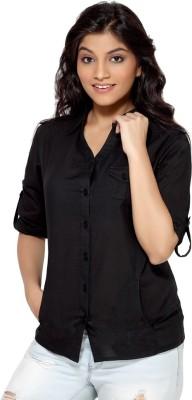 Loco En Cabeza Women's Solid Casual Black Shirt