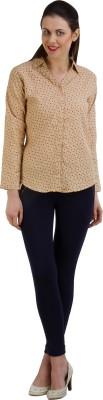 GUDS Women's Printed Casual, Formal Beige Shirt