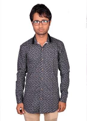 Royal Fashion Men's Floral Print Festive Black Shirt