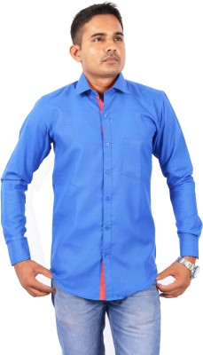 Skybe Men's Solid Casual Blue Shirt