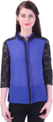 Street 9 Women's Solid Casual Blue Shirt