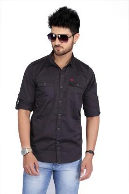 Nostrum Jeans Men's Solid Casual Grey Shirt
