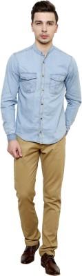 MYCALIBER Men's Solid Casual Light Blue Shirt
