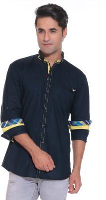 Rebel Men's Solid Casual Dark Blue Shirt