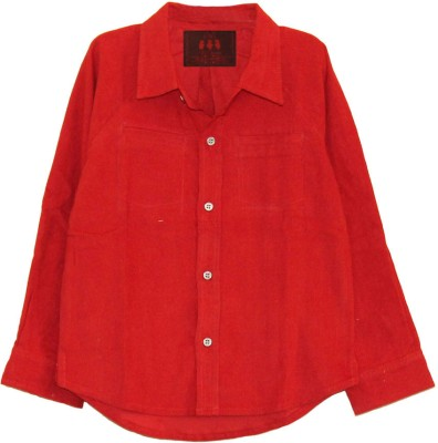 My Little Lambs Boy's Solid Casual Red Shirt