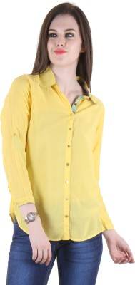Hotberries Women's Solid Casual Yellow Shirt