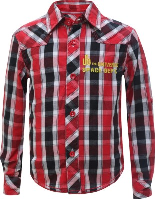 UFO Boy's Checkered Casual Red Shirt