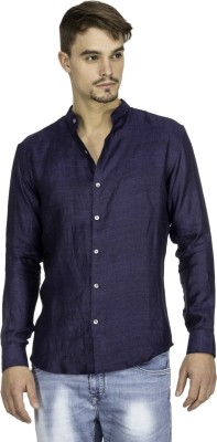Mayank Modi Men's Self Design Casual Linen Blue Shirt
