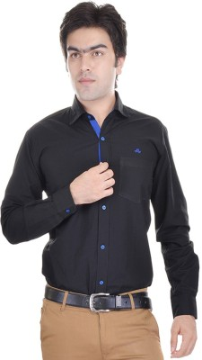 AD & AV Men's Solid Formal Black Shirt
