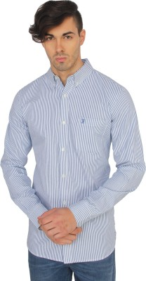 French Connection Men's Striped Casual Blue Shirt