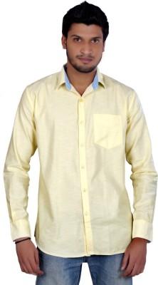 Falco Men's Solid Casual Linen Yellow Shirt