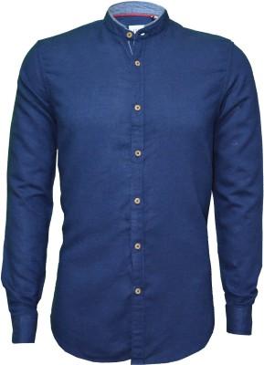 IVYN Men's Solid Casual Linen Blue Shirt