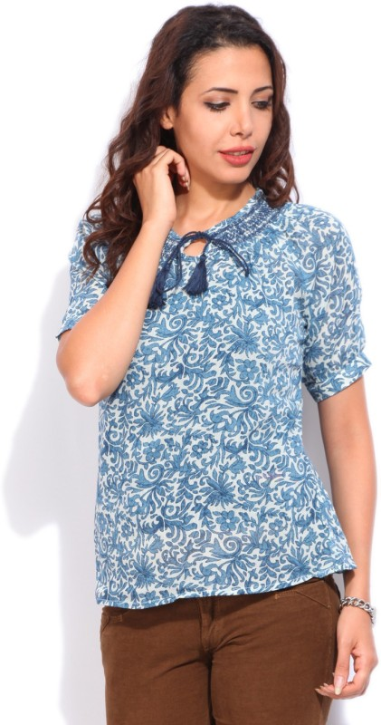 Lee Cooper Casual Short Sleeve Printed Women's White, Blue Top
