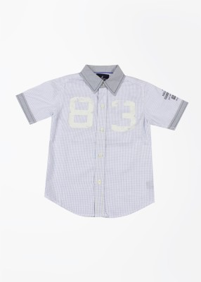 Nautica Boy's Checkered Casual White, Blue Shirt