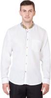 Desam Formal Shirts (Men's) - Desam Men's Solid, Embroidered Formal Linen White Shirt