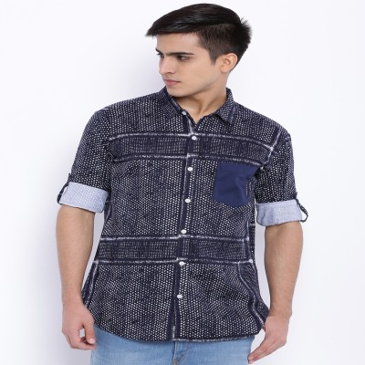 Le Bison Men's Checkered Casual White Shirt