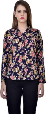 Tej Star Women's Printed Casual Blue Shirt