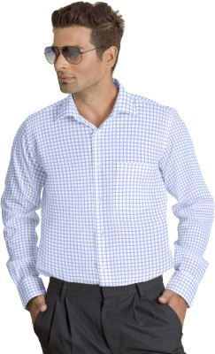 Willmohr Men's Checkered Formal Light Blue Shirt