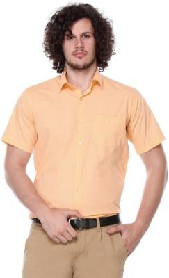 Hancock Men's Printed Formal, Casual Orange Shirt