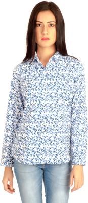 MIST ISLAND Women's Floral Print Casual White Shirt