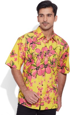 Very Me Men's Floral Print Casual Yellow Shirt